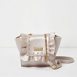 Girls pink ruffle chain cross body bag