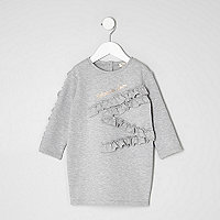 Mini girls grey ruffle detail sweat dress