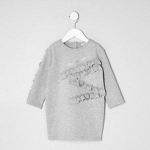 Graues Sweatshirt-Kleid mit Rüschen