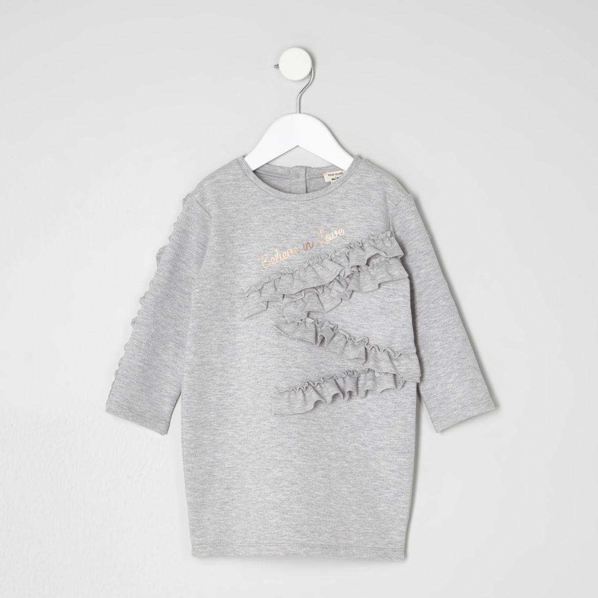 Mini girls grey ruffle detail sweat dress