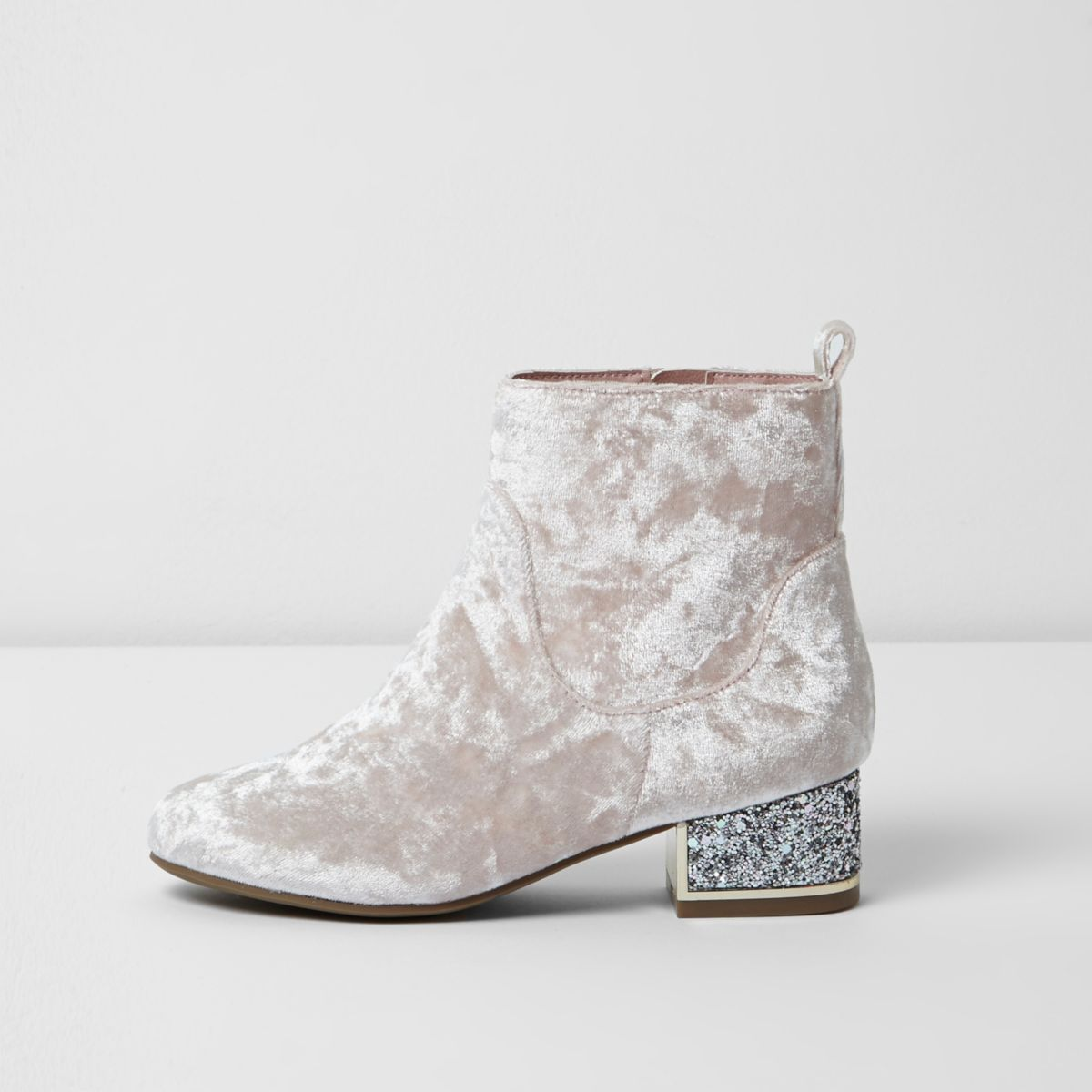 Girls light pink crushed velvet ankle boots
