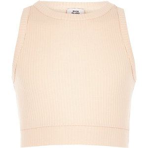 Girls light pink jersey ribbed crop top
