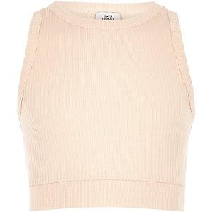 Crop top en jersey rose clair côtelé pour fille