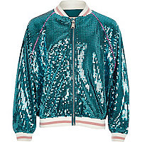 Girls blue sequin mermaid bomber jacket