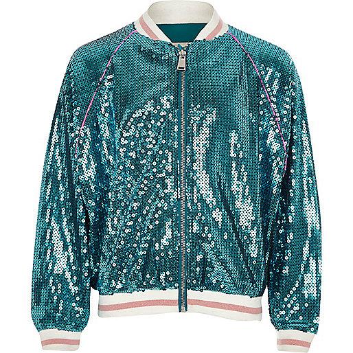 Girls blue sequin mermaid bomber jacket