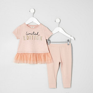 Mini girls pink mesh hem T-shirt outfit
