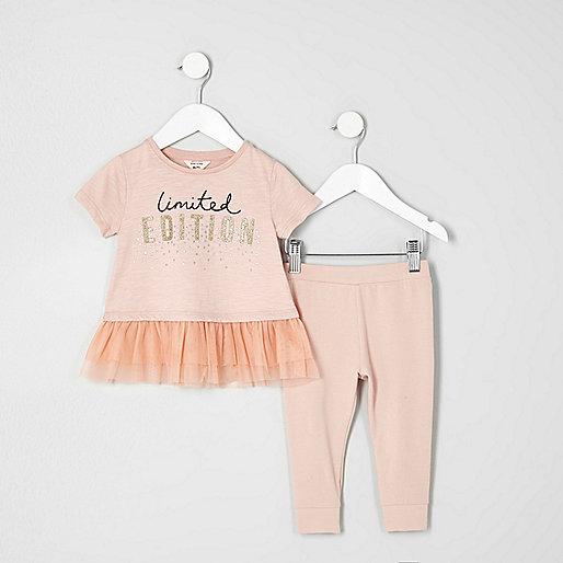 Mini girls pink mesh hem T-shirt outfit