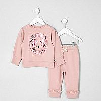 Mini girls pink unicorn print joggers outfit