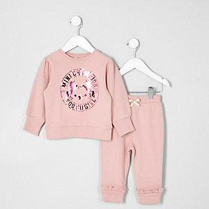 Ensemble avec pantalon de jogging rose à imprimé licorne mini fille