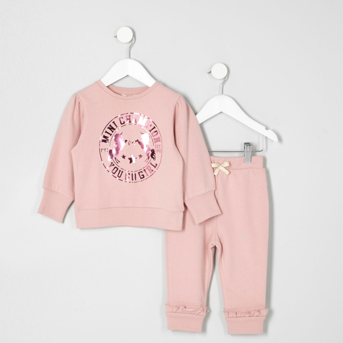 Mini girls pink unicorn print joggers outfit