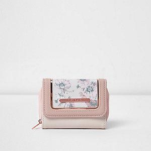 Porte-monnaie rose à fleurs pour fille