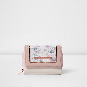 Roze portemonnee met bloemenprint voor meisjes