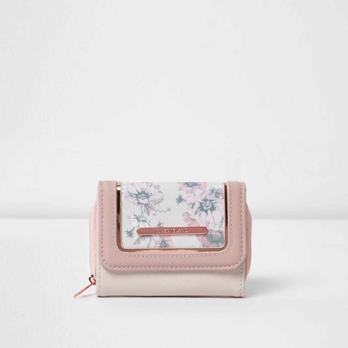 Girls pink floral print purse