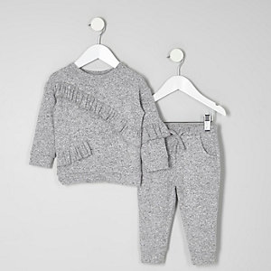 Mini girls grey marl frill joggers outfit