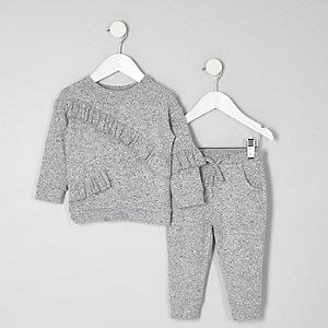 Mini - Outfit met grijze gemêleerde joggingbroek met ruches voor meisjes