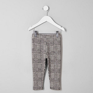 Mini girls grey heritage check leggings