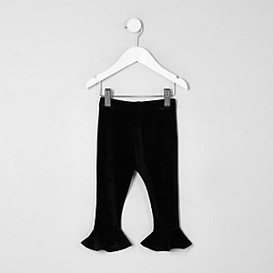 Mini girls black velvet frill hem leggings