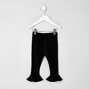 Mini girls black velvet frill hem leggings