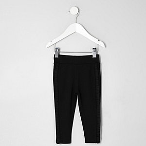 Mini girls black ruffle side leggings