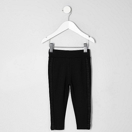 Mini girls black ruffle side leggings