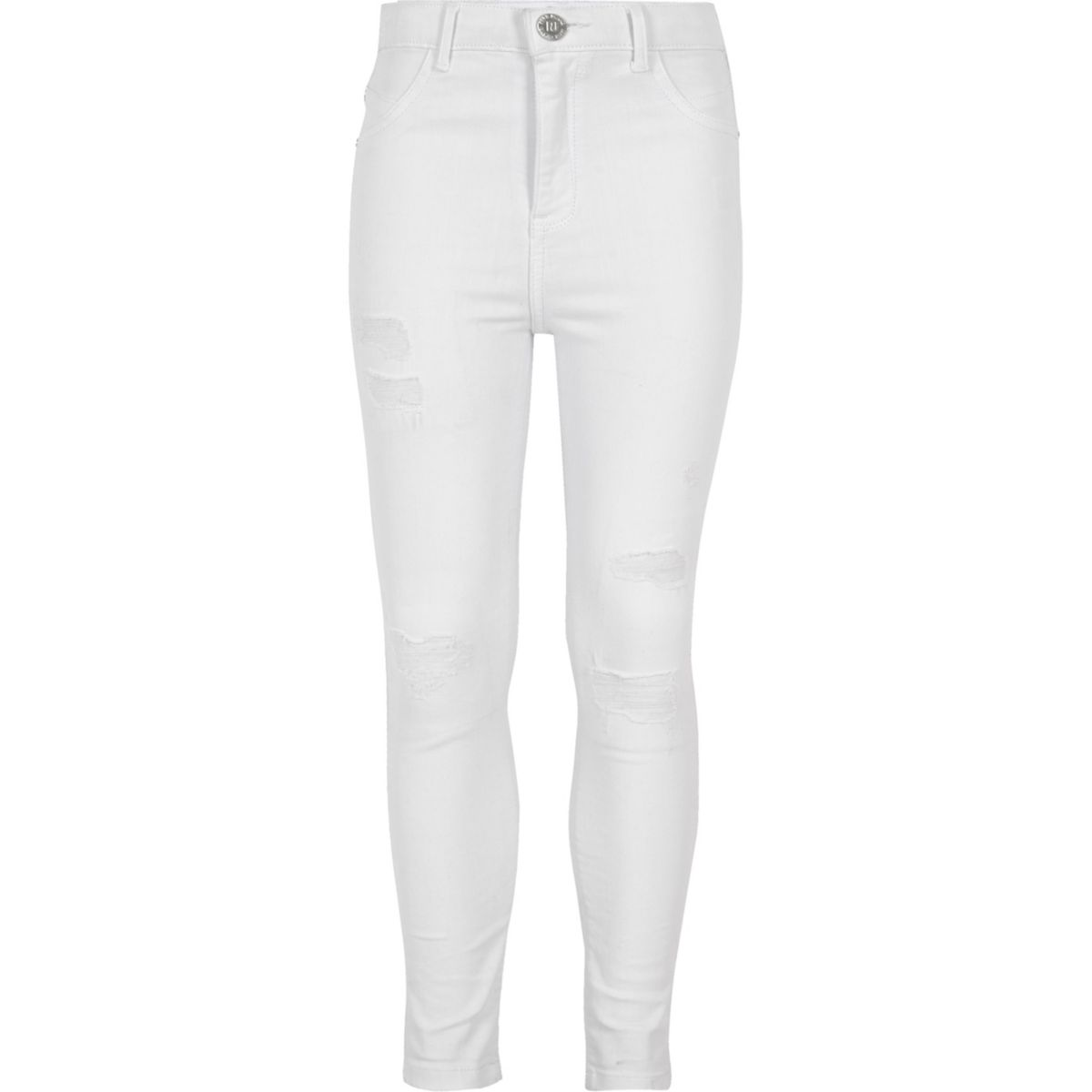 Girls white ripped skinny Molly jeggings