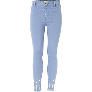 Girls light blue embellished Molly jeggings