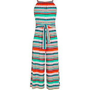 Girls red geo stripe sleeveless jumpsuit
