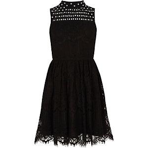Girls black lace high neck prom dress