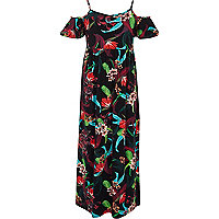 Girls black floral cold shoulder maxi dress
