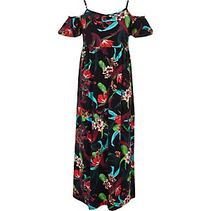Girls black floral cold shoulder maxi dress