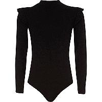 Girls black high neck ruffle bodysuit