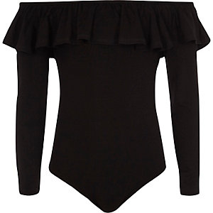 Girls black long sleeve bardot frill bodysuit