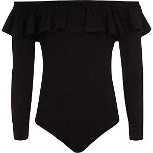 Body Bardot noir à manches longues et volants pour fille