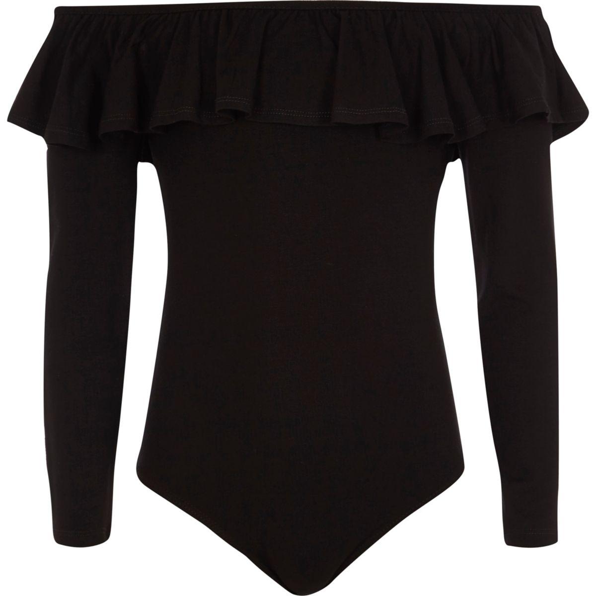 Girls black long sleeve bardot frill bodysuit