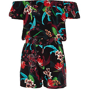 Girls black floral print bardot playsuit