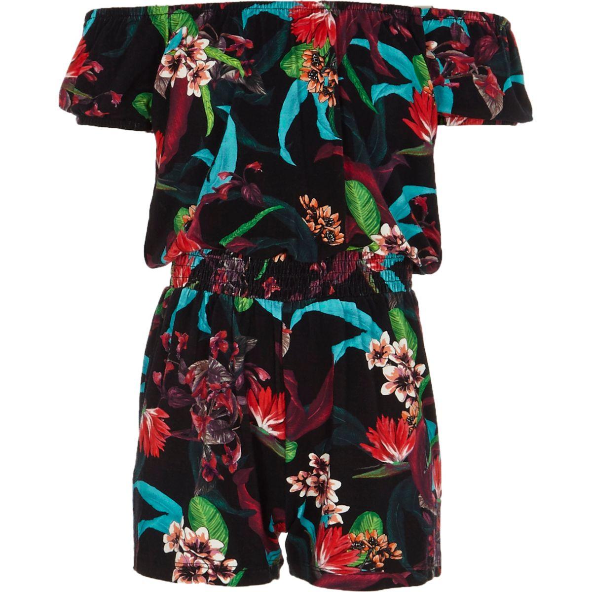 Girls black floral print bardot romper