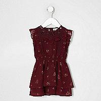 Mini girls dark red floral frill lace dress