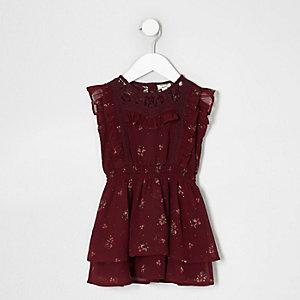 Mini - Donkerrode gebloemde kanten jurk met ruches voor meisjes