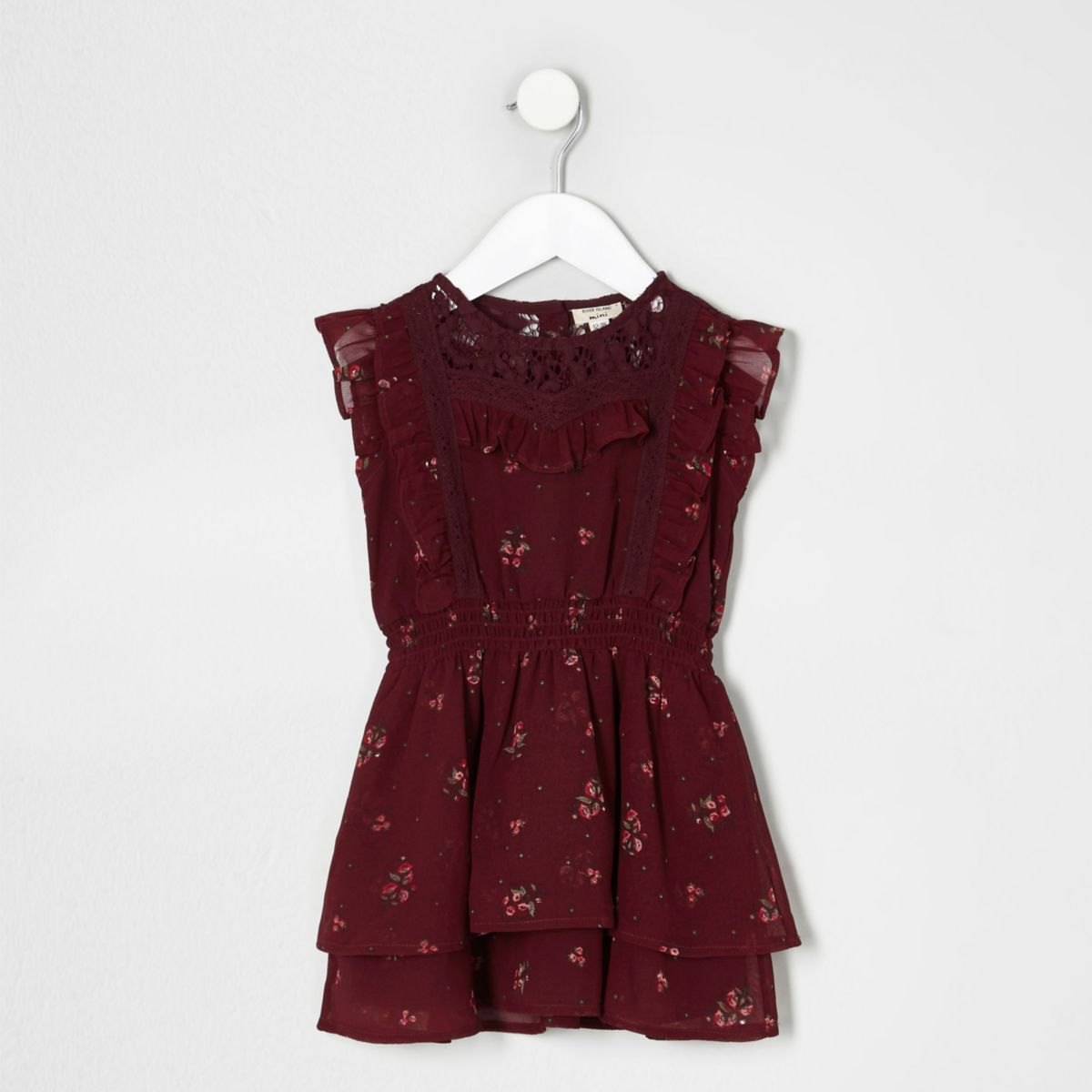 Mini girls dark red floral frill lace dress