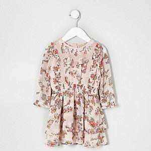 Robe à fleurs rose avec volants et dentelle mini fille