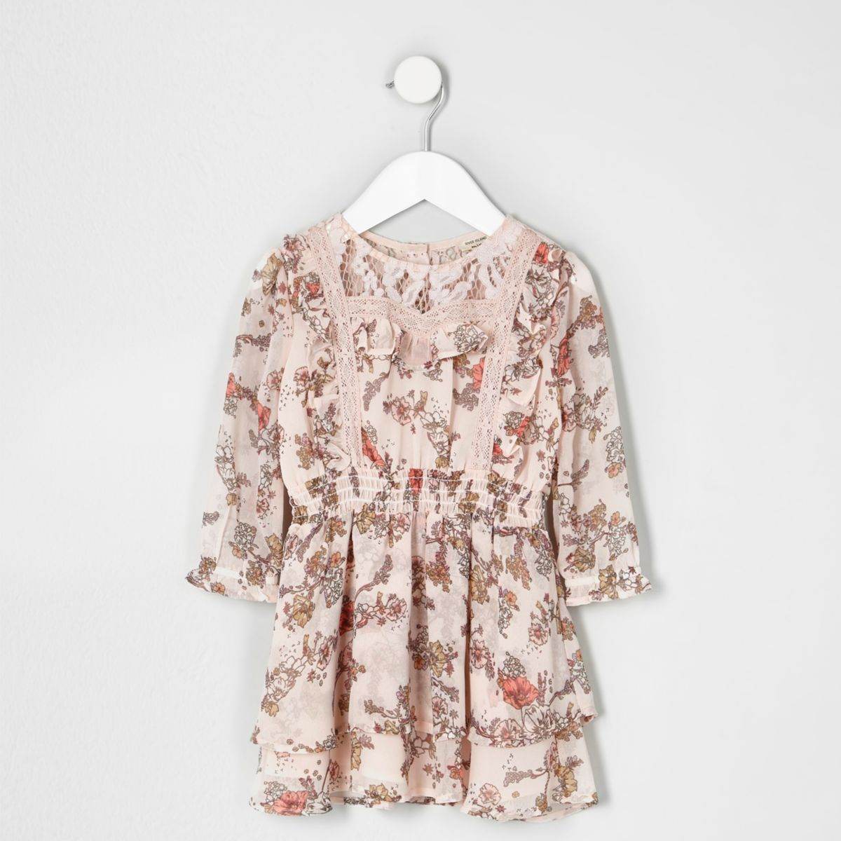 Mini girls pink floral print lace frill dress