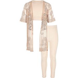 Ensemble avec kimono rose clair orné fille