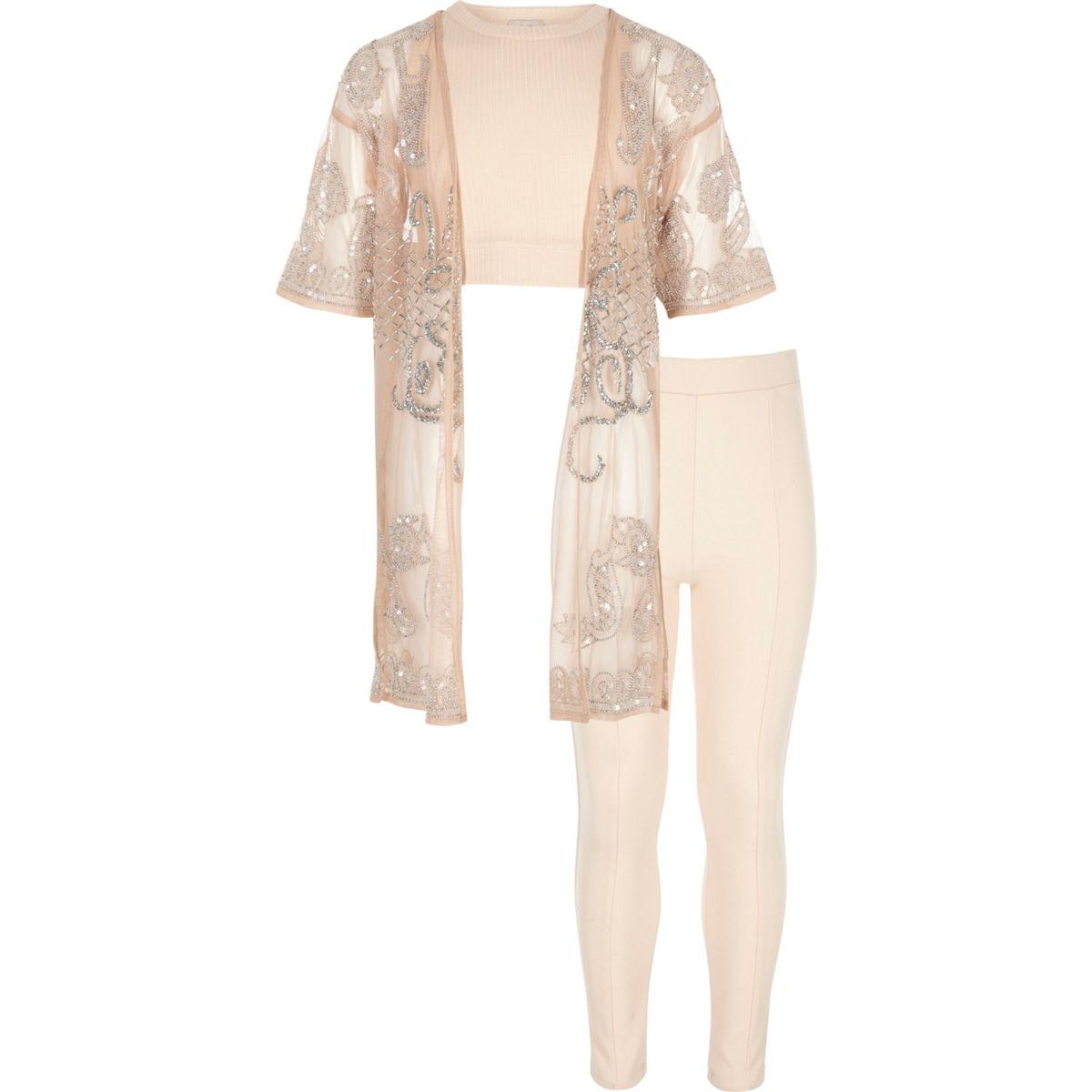 Girls Light Pink Embellished Kimono Outfit - Sets U0026 Outfits - Girls