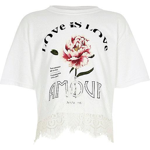 Girls white 'amour' print lace hem T-shirt