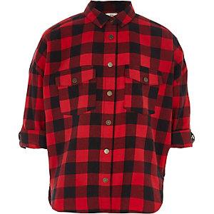 Girls red check oversized shirt