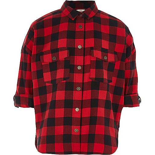 Girls red check oversized shirt