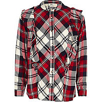 Girls red check frill shirt