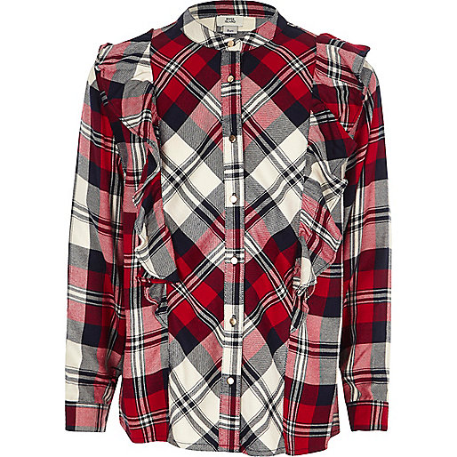 Girls red check frill shirt