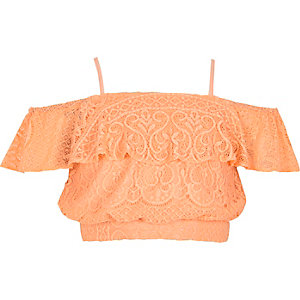 Girls coral orange lace bardot crop top