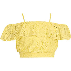 Girls yellow lace bardot crop top